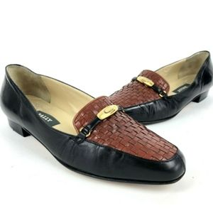 Bally Vanessa Black Brown Woven Leather Loafers